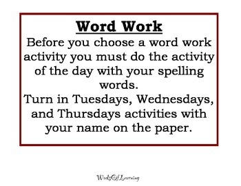 Words Their Way Daily Activities