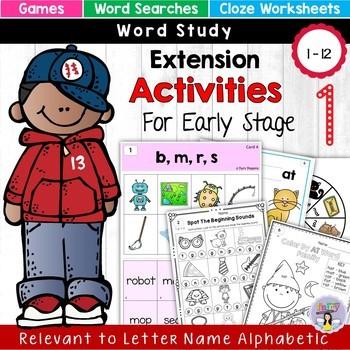 Letter Name Alphabetic Game & Worksheets (Unit 2) CVC Word