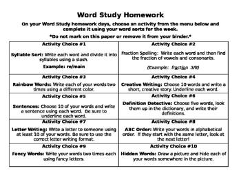 Words Their Way Homework Activities