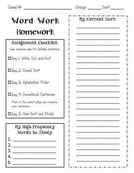 Words Their Way Homework Packet