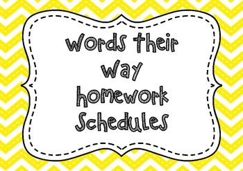 Words Their Way Homework Schedules
