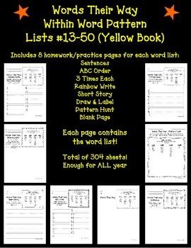 Words Their Way Homework - Within Word Patterns #13-50 (Ye