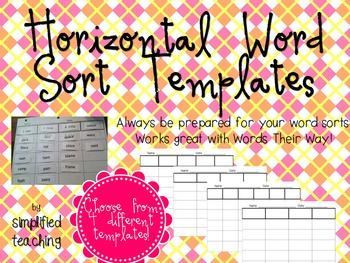 Word Sort Horizontal Templates and Directions {Simplified