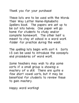 Words Their Way Letter Name Alphabetic Spelling List