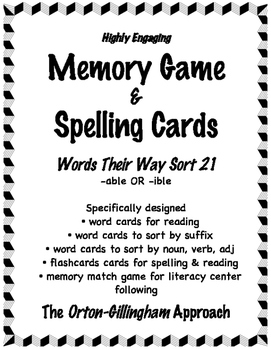 Words Their Way (Level E ) Sort 21: Words Cards for Memory