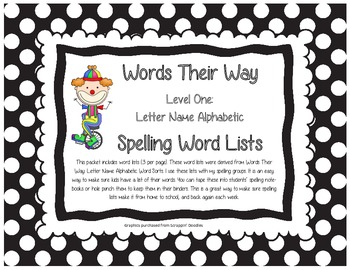Words Their Way Level One Letter Name Alphabetic Spelling
