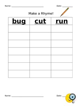 Words Their Way Make and Match Rhymes Letter Name Sort 11