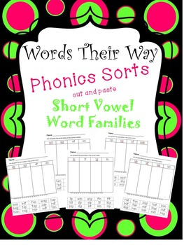 Words Their Way Phonics Sorts Cut and Paste Short Vowel Wo
