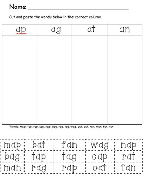Words Their Way Short A Word Family Sort (Letter-Name Alph