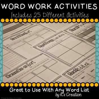 Word Work Sort Activities