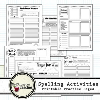 Printable Spelling Activities Independent Practice and Homework