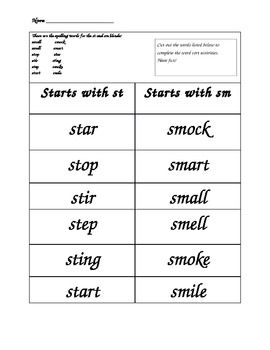 Words Their Way Spelling Lists- Diagraphs Part 2