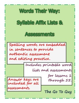 Words Their Way:  Syllable Affix Assessments and Word List