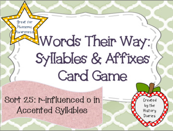 Words Their Way:Syllables&Affixes: Sort 25: R-Influenced O