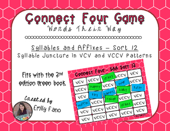 Words Their Way - Syllables and Affixes - Sort 12 Connect Four