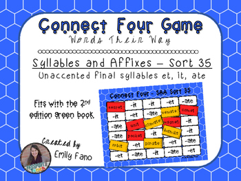 Words Their Way - Syllables and Affixes - Sort 35 Connect Four