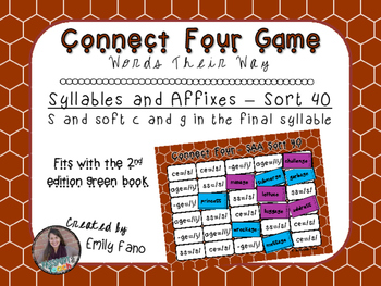 Words Their Way - Syllables and Affixes - Sort 40 Connect Four