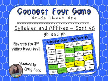 Words Their Way - Syllables and Affixes - Sort 45 Connect Four