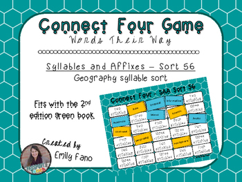 Words Their Way - Syllables and Affixes - Sort 56 Connect Four