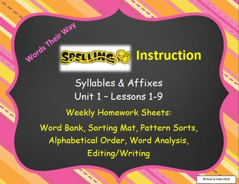 Words Their Way Weekly Homework Sheets-Syllables & Affixes