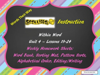 Words Their Way Weekly Homework Sheets - Within Word - Les