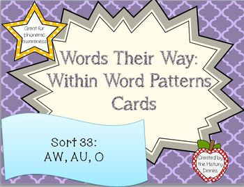 Words Their Way: Within Word Patterns: Sort 33: Uno Cards: