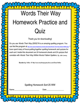 Words Their Way Within Words Homework and Quizzes Sorts 25