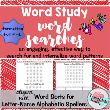 Words Their Way Word Searches Letter-Name Alphabetic Spell