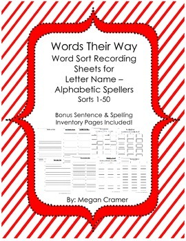 Words Their Way Word Sort Recording Sheets, Sentence & Spe