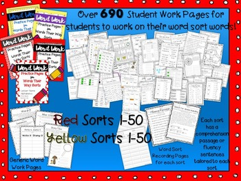 Words Their Way Word Work Practice Pages RED and YELLOW Bo