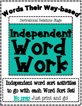 Words Their Way based Independent Word Work-Derivational R
