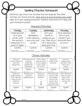 Words Their Way weekly spelling homework