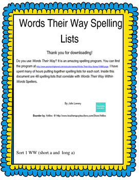 Words Their Way within Words Spelling Words Sort 1-48 (2003)