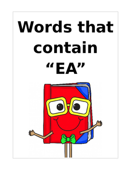 "Words that contain ""EA"" (Based on Orton Gillingham.) 3 pag"
