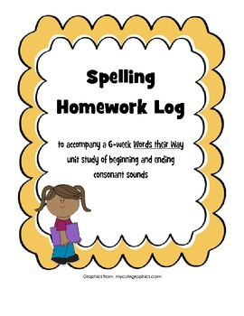 Words their Way Beginning and Ending Sounds Spelling Homework Log