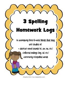 Words their Way Spelling Homework Bundle #3