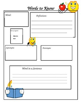 Words to Know worksheet