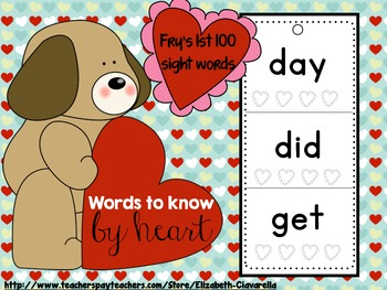 Words to know by heart - Fry Sight Word take home flip boo