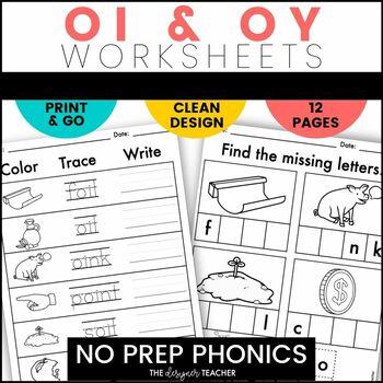 NO PREP Print & Go OI & OY Word Work