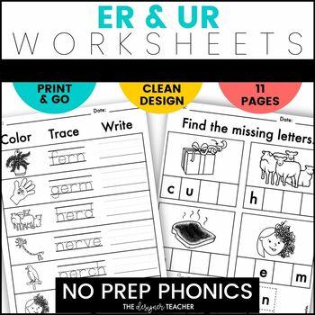 NO PREP Print & Go R-Controlled Vowels UR & ER Word Work