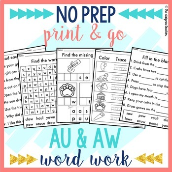 NO PREP Print & Go AU & AW Word Work