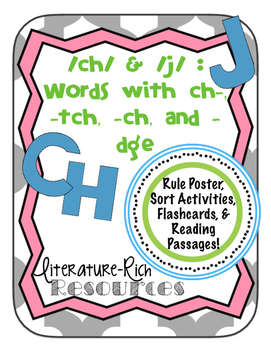 Words with /ch/ and /j/ : ch-, -ch, -tch, and -dge Activit