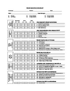Work Behavior Check List