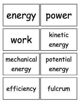 Work, Energy and Machines, and Electricity Flashcards, Mid