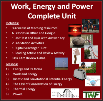 Work, Energy and Power Complete Unit-PowerPoint Lessons,Wo