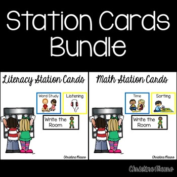 Work Station Cards - Literacy & Math