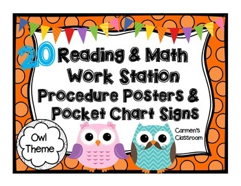 Work Station Pocket Chart Cards and Procedure Posters ~ Owl Theme