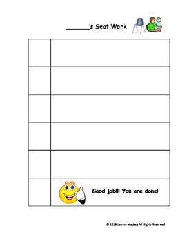 Work System/Checklist for Seat Work