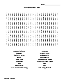 Work and Energy Vocabulary Word Search for Physics