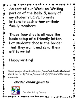 Work on Writing- Friendly Letter